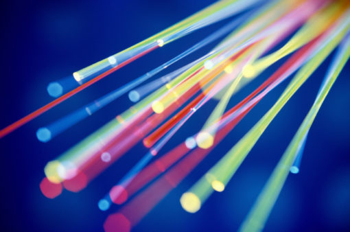Close-up of fiber optic cables